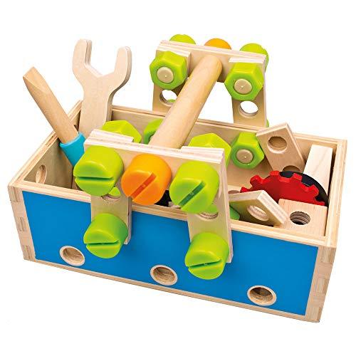 Mertens Werkzeugset aus Holz, Spielzeug für Kinder ab 3 Jahre, Kinderspielzeug (Werkzeugkasten inklusive Zubehör, 50 teilig, Holzspielzeug mit 5 verschiedenen Figuren, fördert Feinmotorik), Bunt