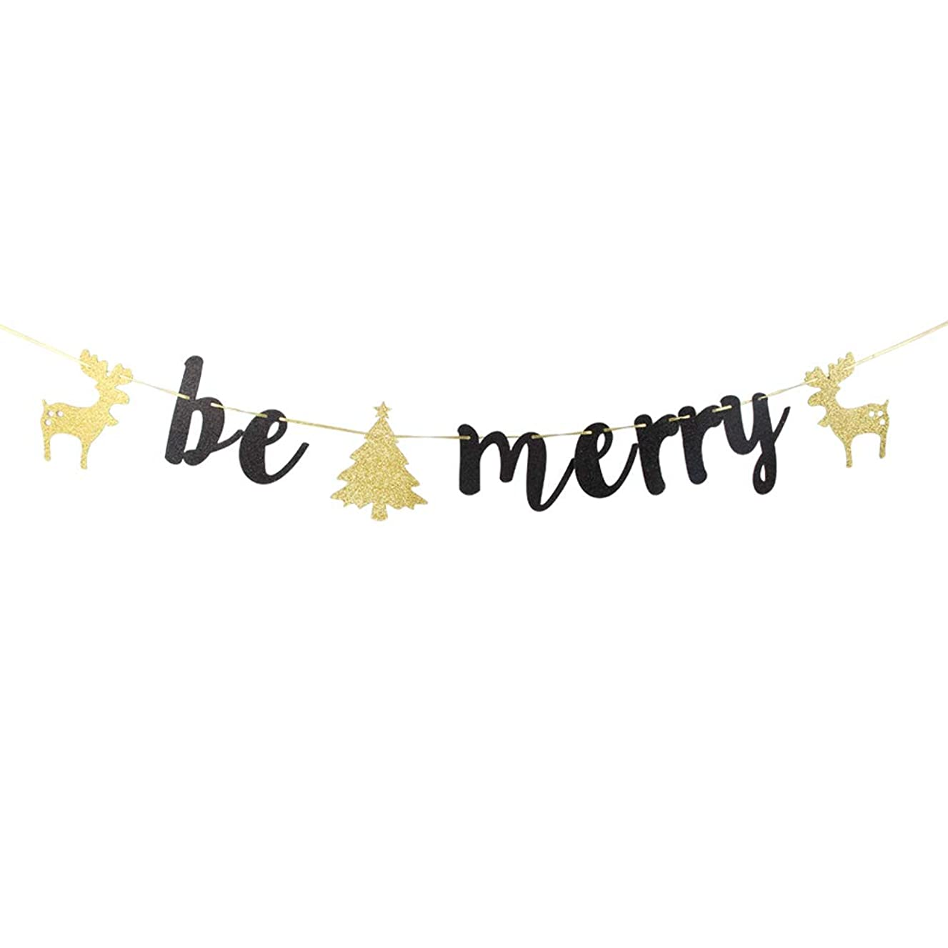 INNORU Black Glitter Be Merry Banner - Christmas Sign Party Props Bunting