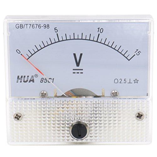 Heschen Voltmeter 85C1-V, 15V, rechteckig, mit Montageblende, Spannungsmesser, Prüfgerät, DC 0–15V, Genauigkeitsklasse 2,5,weiß