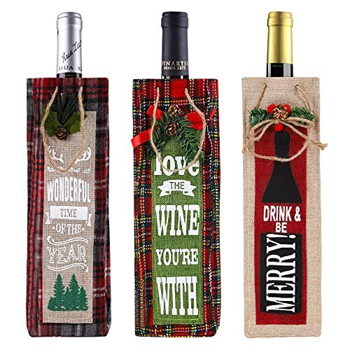 Cubierta de Botella de Vino de Navidad, 3 piezas Premium Bolsas de regalo para vino de Navidad Bolsas con asas Fundas para botellas de vino reutilizables Bolsas para la decoración de la mesa