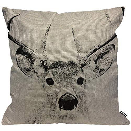 HGOD DESIGNS Cushion Cover Deer Elk Grey,Throw Pillow Case Home Decorative for Men/Women Living Room Bedroom Sofa Chair 18X18 Inch Pillowcase 45X45cm