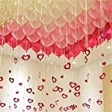 UTOPP 100 Pack 12' Balloons, Valentines Day Decorations, Balloons Red Pink and White Bling Foil Heart Shape Hanging Wedding Party Confession Anniversary Backdrop Christmas Party Supplies