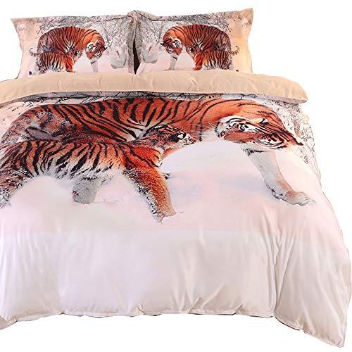 ENJOHOS 3D Tiger Bettwäsche Set Cool Animal Print Bettbezug mit 2 passenden Tiger Kissenbezügen 3-teilig Weich und Bequem Bettset für Teens Jungen und Erwachsene, King Size