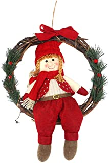 MIS1950s Christmas Decoration Door Hangings Wreath Cartoon Doll Garland Wall Hanging Ornament Christmas Tree Pendant Home Decor