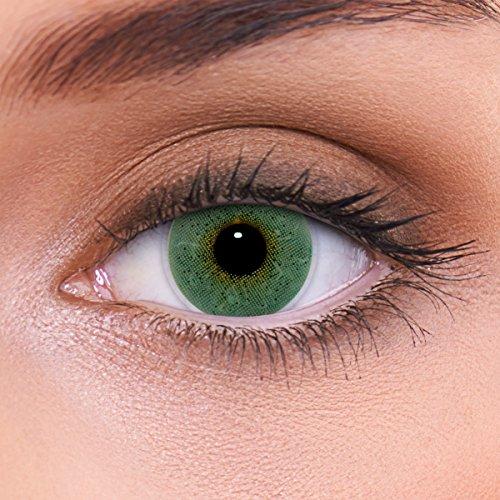 LENZOTICA Sehr stark natürlich deckende blaue Kontaktlinsen farbig SOLID BLUE + Behälter von LENZOTICA I 1 Paar (2 Stück) I DIA 14.00 I ohne Stärke I 0.00 Dioptrien