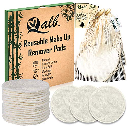 Qalb Reusable Cotton Rounds (16 Pads) | Organic Makeup Remover Pad and Deep Cleansing Facial Wipes | Extra Soft Washable Cotton Swabs with Laundry Bag | Tested and Proven on all Skin Types