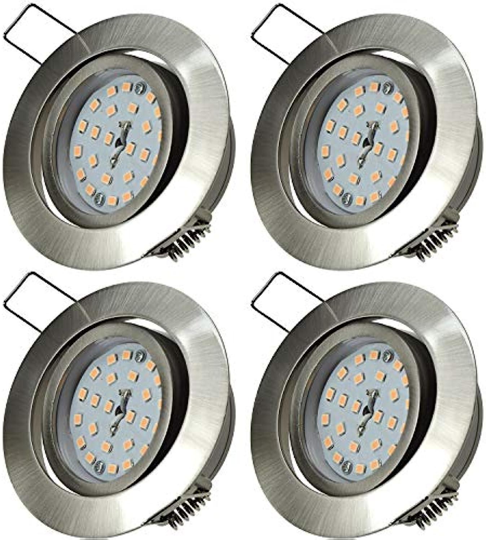 4 Stück Flacher SMD LED Decken Einbaurahmen Flatty 5 Watt 230 Volt Schwenkbar Farbe Edelstahl geb. Lichtfarbe Neutralwei