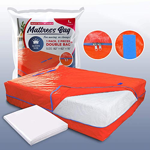 LEVARARK Mattress Bag for Moving and Storage | Queen Size Double Cover | Heavy Duty Tarp Plus 4 Mil Thick Plastic Protector | Sturdy Reusable Material Handles and Strong Zipper Closure (Queen Orange)