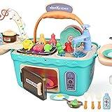 Dreamon Spielküche Spielzeug Kinderküche Zubehör Kochset Kinder Picknickkorb mit Musik Licht, Kinder (Grün)