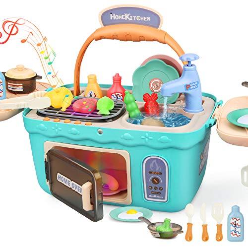 Dreamon Cucina Giocattolo per Bambini Giochi Cucina Accessori con Music Light, Regalo di Natale per Ragazza Ragazzo (Verde)