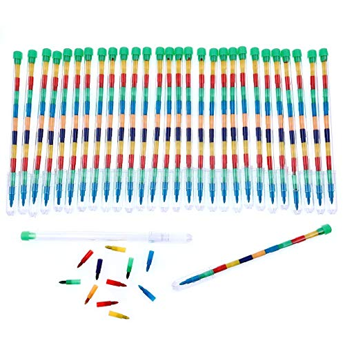 JZK 30 x Multicolor lápices cera punta Intercambiable para niños juguetes pequeños para cumpleaños detalle fiesta