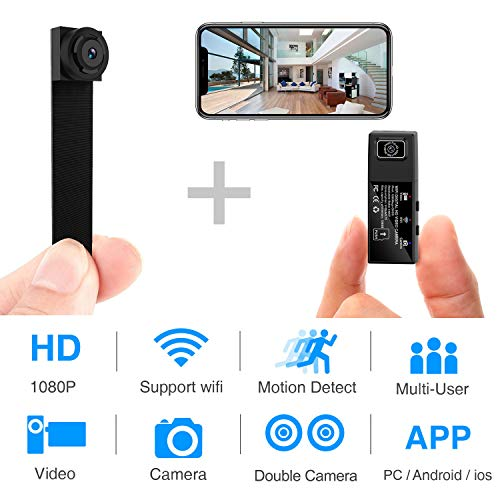 Hidden Spy Camera Wi-Fi Mini Camera 1080P HD Portable Wireless Camcorder Video Recorder IP Network Cameras with 2 Interchangeable Lens Motion Detection for Home Security Monitoring (Newest App)