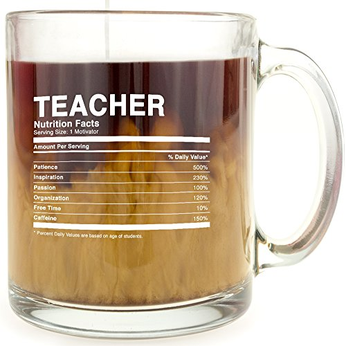 Teacher Nutrition Facts - Glass Coffee Mug - Makes a Great Gift Under $15 for Back-to-School Gift!