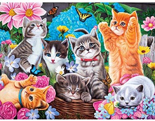 Houten puzzel 1000 stukjes, 50 * 75cm klassiek volwassen kinderen puzzelspel Woondecoratie DIY Leuk cadeau Houten puzzel Veel katten die samen spelen