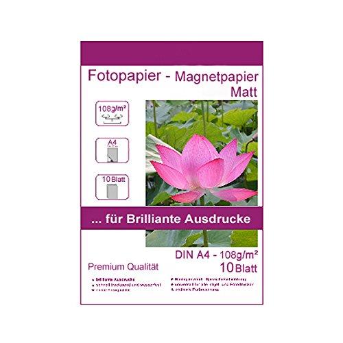 10 Blatt DIN A4-210x297 mm 108g/m² Fotopapier Magnetpapier Matt wasserfest Photopapier matte wasserfest photopaper photo paper 108 / m² 108g/qm DIN A4-210 x 297 mm 21 mm x 29,7 cm