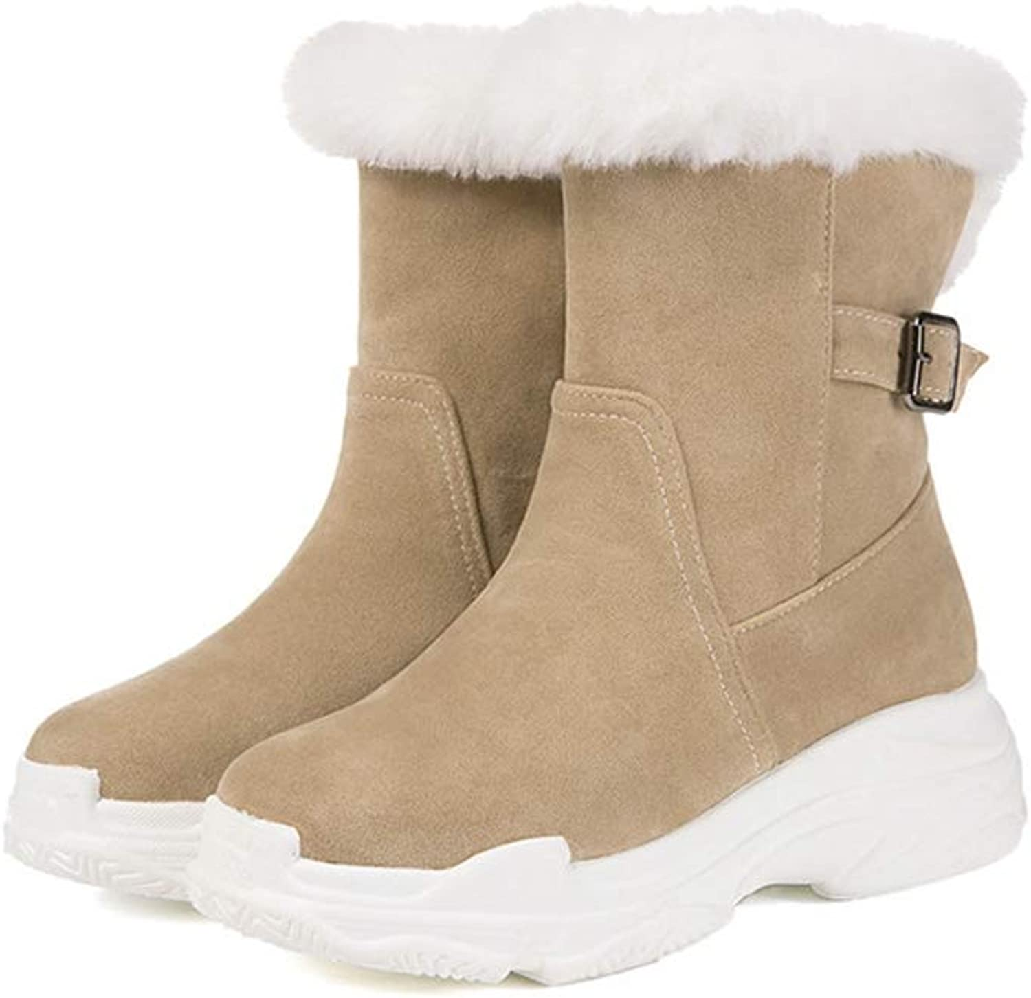 Snow Boots Women Round Toe Zip Flock Thick Fur Winter Keep Warm Snow Boots Female Flat Platform Ankle Boots