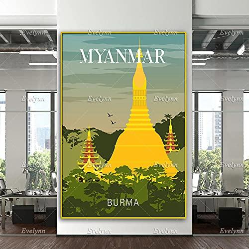 zuomo Affiche de Voyage au Myanmar, Impression de Voyage au Myanmar, Art Mural Myanmar, Affiche de Voyage en Birmanie décor à la Maison Toile Cadeau Unique 60x90cm Pas de Cadre
