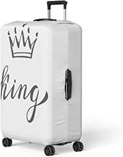 Semtomn Luggage Cover Queen Hand Lettering Word King and Crown Decorating Travel Suitcase Cover Protector Baggage Case Fits 22-24 Inch