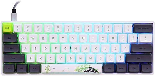 EPOMAKER SK61 61 Clé Clavier de Jeu Mécanique 60%, Clavier Gaming, Éclairage RGB, Personnalisable, Anti-Ghosting, Câb...