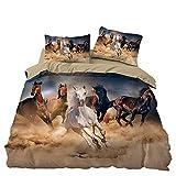 MKHFUW Juego de ropa de cama para caballos con impresión en 3D, impresión de caballo individual, doble, king size (220 x 240 cm)