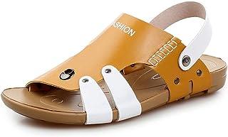 Men Sandals Summer Casual Beach Sandals for Men Microfiber Leather Comfortable Breathable Anti-Slip Flat Slippers Waterpro...