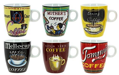 TheKitchenette 2414079 Lot DE 6 Tasses À CAFÉ Old School en Porcelaine 22 CL DÉCORS Assorties, 6 Unité 1