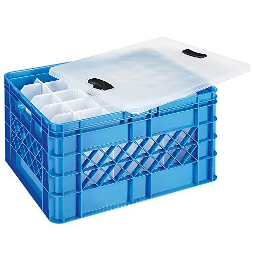 Gläserkasten inkl. Deckel und Clipverschluss, LxBxH 500x400x260 mm, 60 Fächer, blau