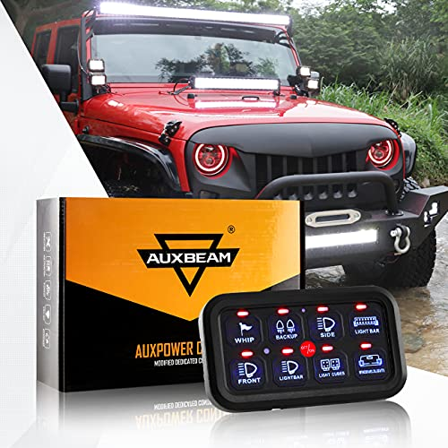 Auxbeam 8 Gang Switch Panel, Universal Circuit Control Relay System Box with Automatic Dimmable On-Off LED Switch Pod Touch Switch Box for Car Pickup Truck Boat UTV SUV (One-Sided Outlet)