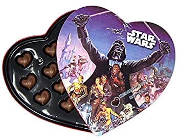 Star Wars Valentines Day Heart Box with Milk Chocolate Caramel Filled Hearts 4.94 Ounce