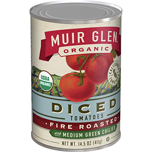 Muir Glen Organic Diced Fire Roasted Tomatoes With Medium Green Chilies 14.5 oz (Pack of 12)