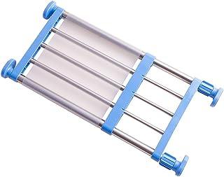 HRS つっぱり棚 つっぱりラック 伸縮棚 強力突っ張り クロ ゼット 押入れ キッチン トイレに適応 (取付寸法40~60cm ブル )