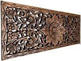 Asiana Home Decor Large Carved Wood Wall Panel. Floral Wood Carved Wall Decor. Size 35.5'x13.5'x0.5' (Brown-Teak)