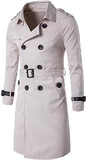 MogogoMen Flap Pockets Belted Knee Length Windbreaker Parka Jacket