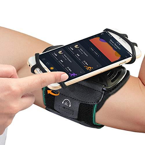 Leyeet Brazalete deportivo para correr, correa de brazo ajustable, rotación para teléfonos de 4 a 6 pulgadas con soporte para llaves para senderismo, ciclismo, jogging