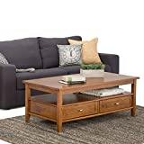 SIMPLIHOME Warm Shaker SOLID WOOD 48 inch Wide Rectangle Rustic Coffee Table in Light Golden Brown, for the Living Room and Family Room