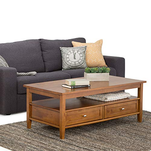 SIMPLIHOME Warm Shaker SOLID WOOD 48 inch Wide Rectangle Rustic Coffee Table in Light Golden Brown,...