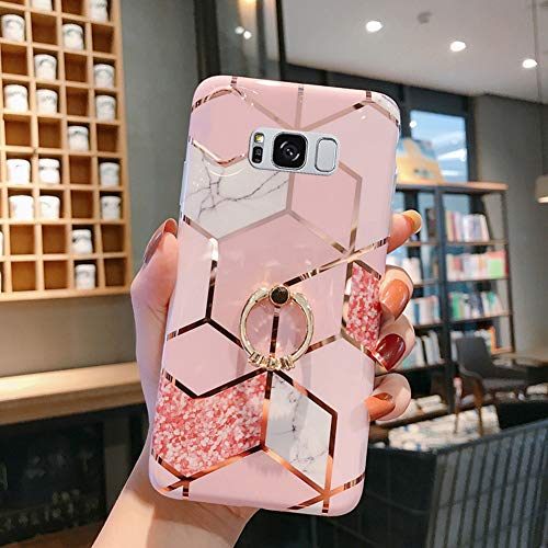 Case for Galaxy S8 Plus Marble Case,Girls Women Polished Plating Mosaic Marble Flexible Soft Rubber Gel TPU Case Cover & Bling Glitter Diamond Ring Stand for Galaxy S8 Plus Silicone Case,Pink B
