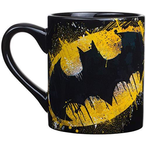 Silver Buffalo DC Comics Batman Splatter Paint Logo Jumbo Ceramic, 14 Oz Mug, 14-ounces, Multicolor