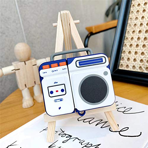 HotelPaw White Stereo Cassette Tape Player AirPods Case Cover - Retro Series - 3D Cute Cartoon Character Silicone Case/Skin/Cover for Girls, Boys, Kids, Teens (Compatible with AirPods Gen 1 and 2)