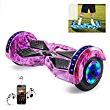WFLRF 8 Inch Self Balancing Scooter Hoverboard with Bluetooth Added Portable Design Built in Bluetooth Speakers with Led Colorful Light, Best Gifts for Kids,Purple