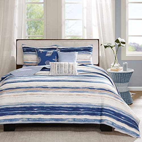 6 Piece Trendy Blue Tan White Full Queen Coverlet Set, Striped Themed Bedding Contemporary Nautical Coastal Watercolor Navy Aqua Ocean Seashells Beautiful Seaside Beach Water Nature, Polyester