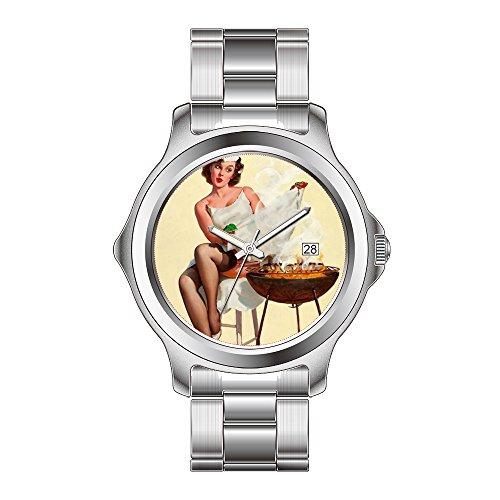 FDC Weihnachten Geschenk Uhren Damen Fashion Japanisches Quarz-Datum Edelstahl Armband Armbanduhr Grill Pinup Girl Armbanduhren