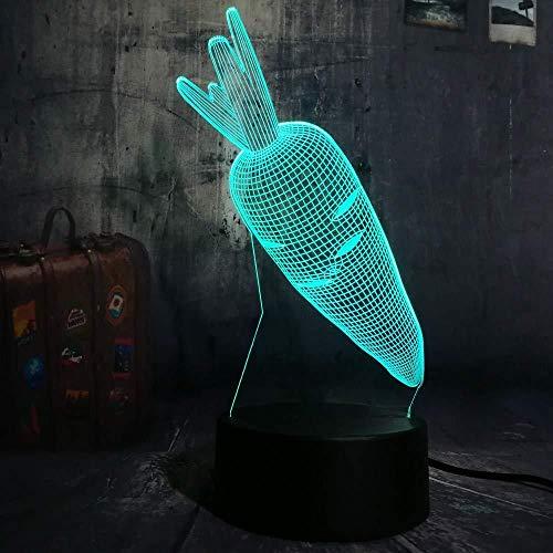 3D ilusión lámpara lámpara de proyección lámpara zanahoria De Habitación De Niños Lámpara De Mesa Los Mejores Regalos De Vacaciones De Cumpleaños Para Niños Con interfaz USB, cambio de color colorido