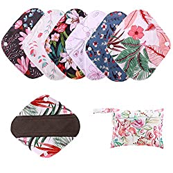 Image: Simfamily 7 Pieces Set Including 1 Piece Mini Wet Bag +6 Pieces 8 Inch Charcoal Bamboo Panty Liner Mama Cloth Menstrual Pads Reusable Sanitary Pads