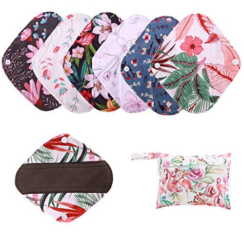 Reusable Waterproof Bamboo Charcoal Menstrual Pads Sets-Panty Liner Regular Flow Heavy Flow (pinjie, s)