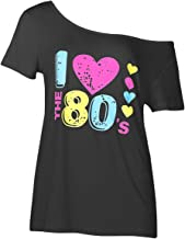 Smile fish Women's I Love The 80's Off The Shoulder Tops Disco 80s Costumes T Shirts