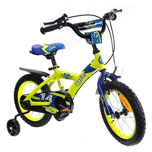 Cyfie 鷹さん 子供用自転車 泥除け付き 補助輪付き 滑り止めハンドル付き 簡単に安装 幅が広いタイヤ 安全 丈夫 全3サイズ (14インチ)