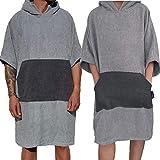Homelevel Poncho de surf para hombre y mujer, 100% algodón, de playa, de baño, toalla de mano, capa, toalla de baño con capucha, colorgris claro/gris oscuro, tamaño large/extra-large