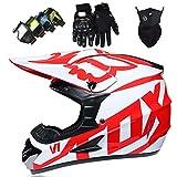 Casco de Motocicleta, Conjunto de Casco de Motocross Todo Terreno MTB MX de Integrales para Niños y Adultos (Gafas + Máscara + Guantes) con Diseño FOX - Certificación DOT & ECE, Blanco Rojo