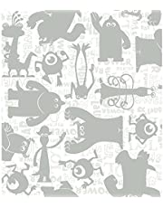 York Wallcoverings Walt Disney Kids II Graphic Monsters Wallpaper Memo Sample, 8-Inch x 10-Inch, White/Grey/Silver